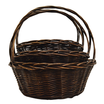 BASKET, WILLOW STAINED ROUND SM